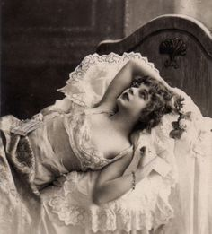 Victorian bed lady reclining erotic thoughts